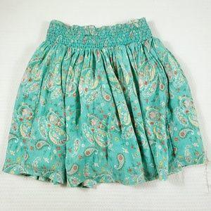 Garnet Hill Kids Green Paisley Metallic Knee Skirt